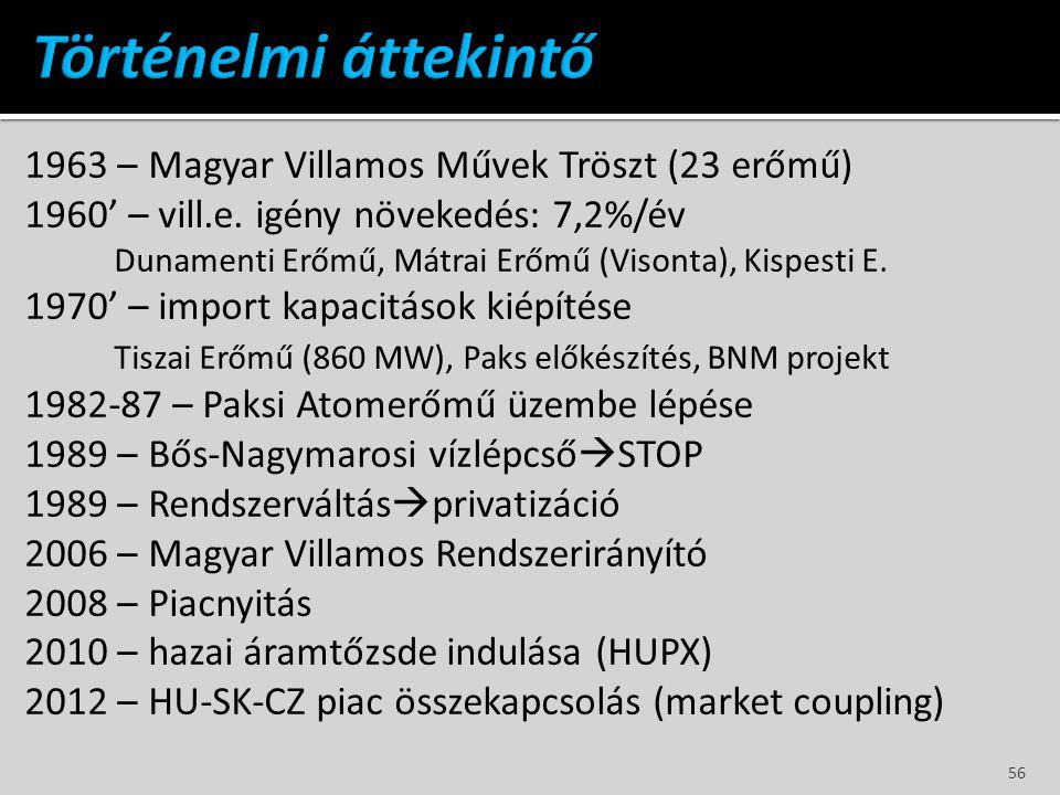 1963 – Magyar Villamos Művek Tröszt (23 erőmű) 1960' – vill.e. igény növekedés: 7,2%/év Dunamenti Erőmű, Mátrai Erőmű (Visonta), Kispesti E. 1970' – i