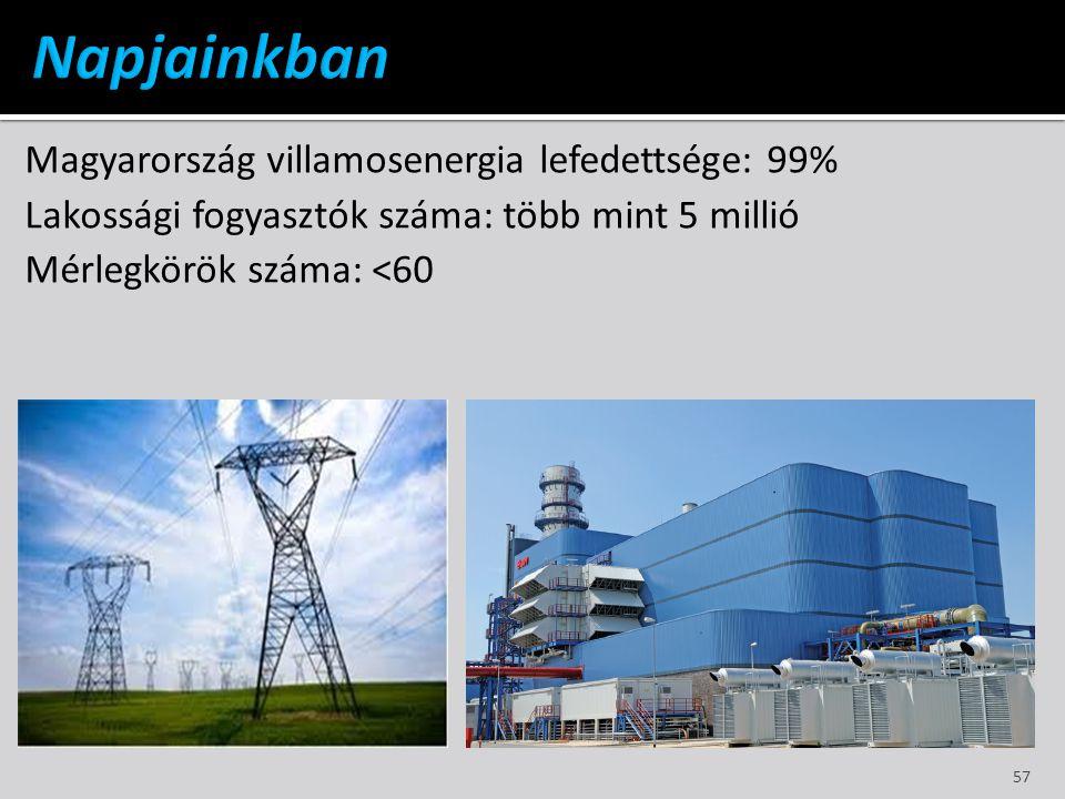 Magyarország villamosenergia lefedettsége: 99% Lakossági fogyasztók száma: több mint 5 millió Mérlegkörök száma: <60 57