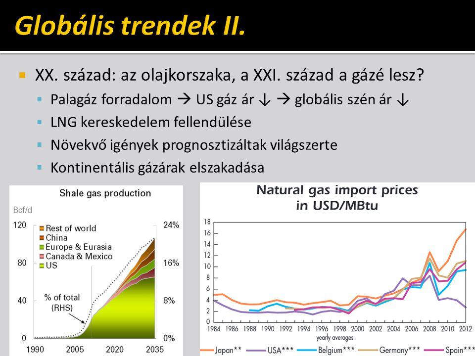  XX. század: az olajkorszaka, a XXI. század a gázé lesz?  Palagáz forradalom  US gáz ár ↓  globális szén ár ↓  LNG kereskedelem fellendülése  Nö
