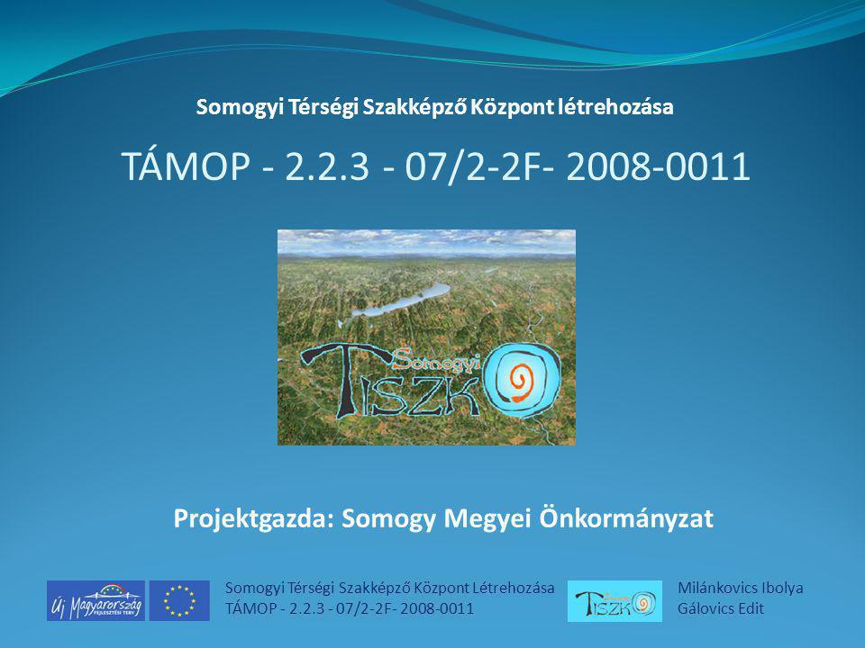 Somogyi Térségi Szakképző Központ Létrehozása TÁMOP - 2.2.3 - 07/2-2F- 2008-0011 Milánkovics Ibolya Gálovics Edit Tervezett kínálat bemutatása Előzetes igényfelmérés Pontosítások Júniusban 3 képzés, augusztusban 6 képzés, közel 200 résztvevő 2009/2010-es tanév: további 30 képzés különböző helyszíneken Módszertani gazdagítás, moduláris rendszerre való felkészülés