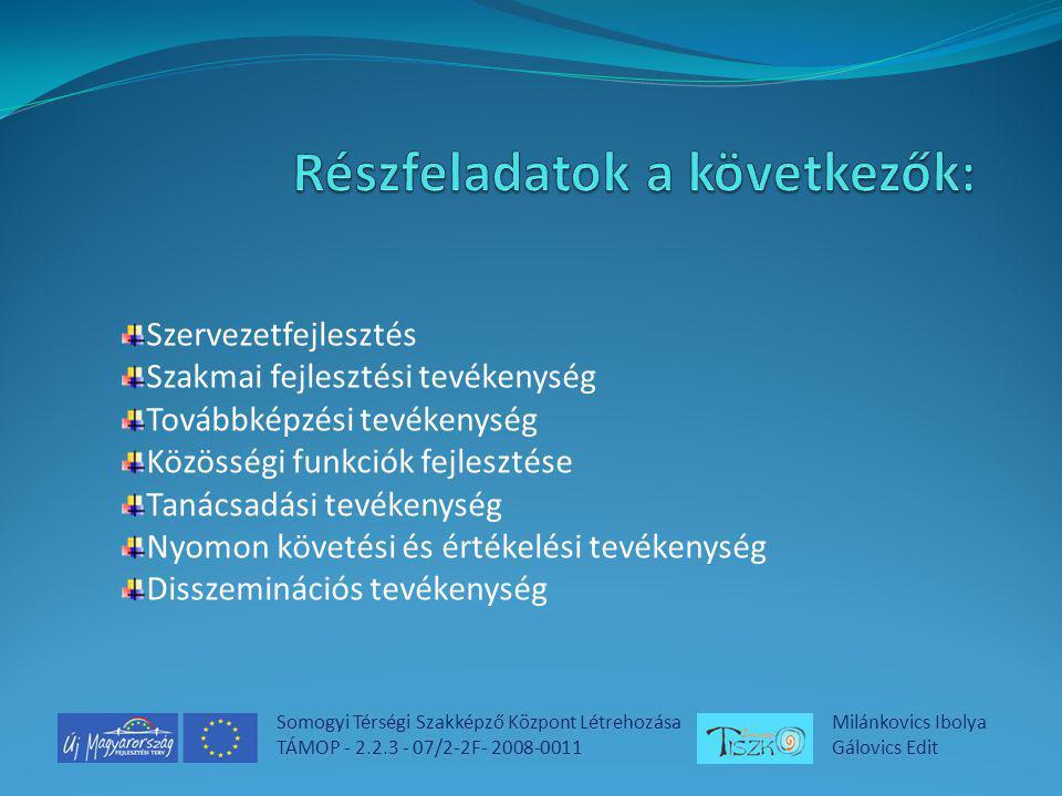 Somogyi Térségi Szakképző Központ Létrehozása TÁMOP - 2.2.3 - 07/2-2F- 2008-0011 Milánkovics Ibolya Gálovics Edit Állami források hatékonyabb felhasználása Összehangolt- az érdekelt felek egyetértésén alapuló szakképzés- fejlesztési irányok meghatározása a koordináció javítása, a fejlesztési források hatékony felhasználása A létrehozott intézményrendszer rugalmasan tudjon reagálni a munkaerőpiac igényeire.