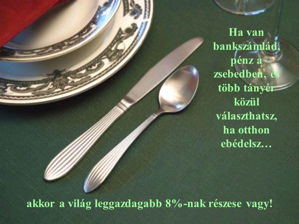 Ha van bankszámlád, pénz a zsebedben, és több tányér közül választhatsz, ha otthon ebédelsz… akkor a világ leggazdagabb 8%-nak részese vagy!