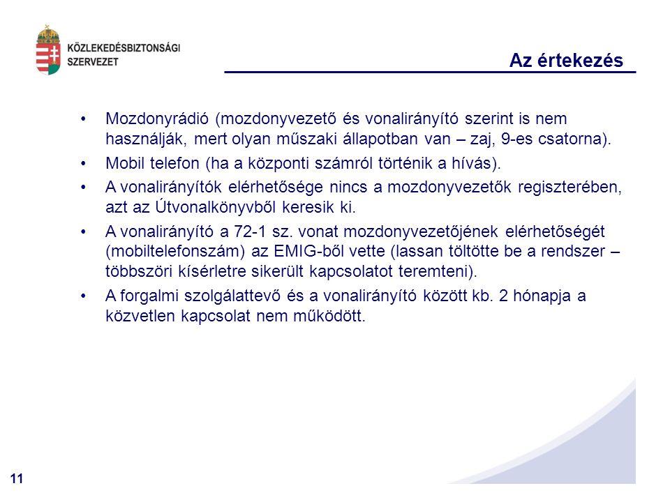 11 Az értekezés •Mozdonyrádió (mozdonyvezető és vonalirányító szerint is nem használják, mert olyan műszaki állapotban van – zaj, 9-es csatorna). •Mob