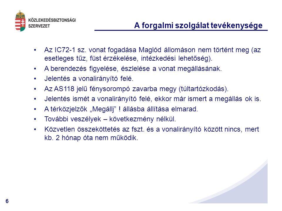 6 A forgalmi szolgálat tevékenysége •Az IC72-1 sz. vonat fogadása Maglód állomáson nem történt meg (az esetleges tűz, füst érzékelése, intézkedési leh