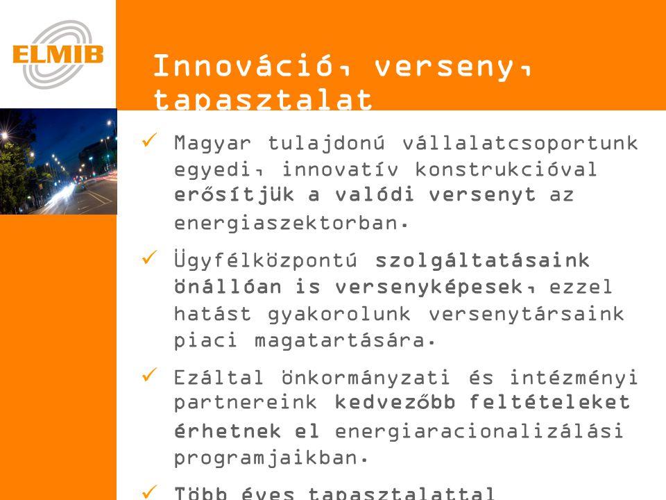 e Innováció, verseny, tapasztalat  Magyar tulajdonú vállalatcsoportunk egyedi, innovatív konstrukcióval erősítjük a valódi versenyt az energiaszektorban.