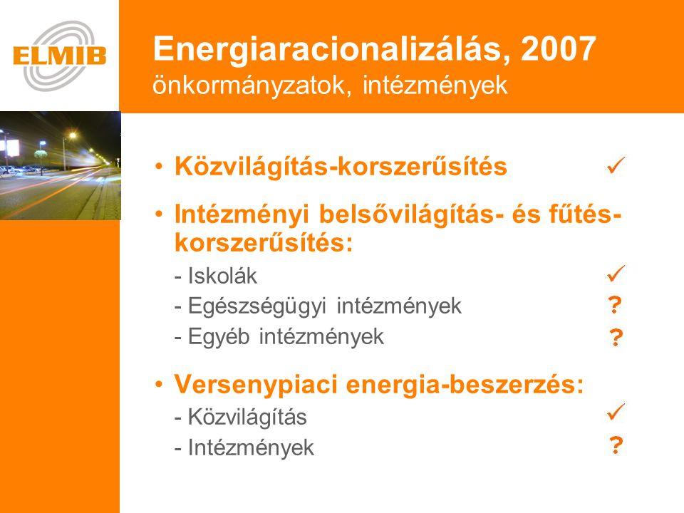 e •Közvilágítás-korszerűsítés •Intézményi belsővilágítás- és fűtés- korszerűsítés: - Iskolák - Egészségügyi intézmények - Egyéb intézmények • Versenypiaci energia-beszerzés: - Közvilágítás - Intézmények Energiaracionalizálás, 2007 önkormányzatok, intézmények