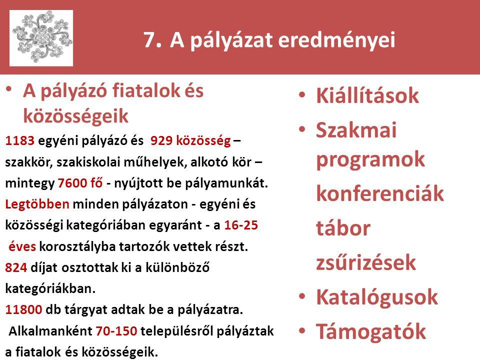 7. A pályázat eredményei • A pályázó fiatalok és közösségeik 1183 egyéni pályázó és 929 közösség – szakkör, szakiskolai műhelyek, alkotó kör – mintegy
