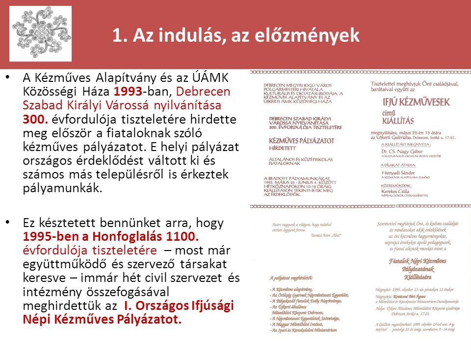 1. Az indulás, az előzmények • A Kézműves Alapítvány és az ÚÁMK Közösségi Háza 1993-ban, Debrecen Szabad Királyi Várossá nyilvánítása 300. évfordulója