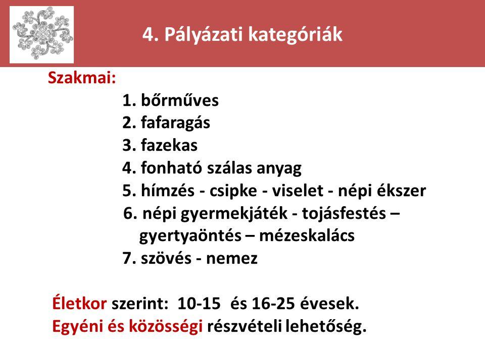 4. Pályázati kategóriák Szakmai: 1. bőrműves 2. fafaragás 3. fazekas 4. fonható szálas anyag 5. hímzés - csipke - viselet - népi ékszer 6. népi gyerme