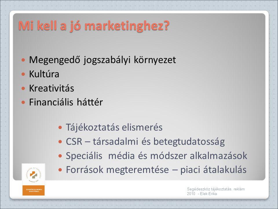Mi kell a jó marketinghez?  Megengedő jogszabályi környezet  Kultúra  Kreativitás  Financiális háttér Segédeszköz tájékoztatás, reklám 2010 - Elek
