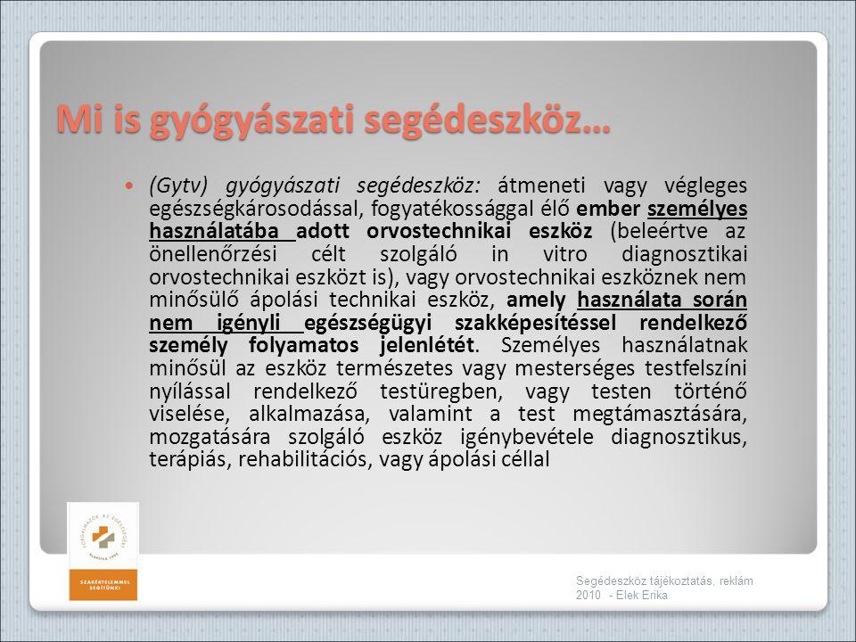 Mi is gyógyászati segédeszköz… Segédeszköz tájékoztatás, reklám 2010 - Elek Erika  (Gytv) gyógyászati segédeszköz: átmeneti vagy végleges egészségkár