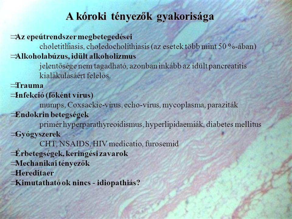 A kóroki tényezők gyakorisága  Az epeútrendszer megbetegedései choletithiasis, choledocholithiasis (az esetek több mint 50 %-ában)  Alkoholabúzus, i