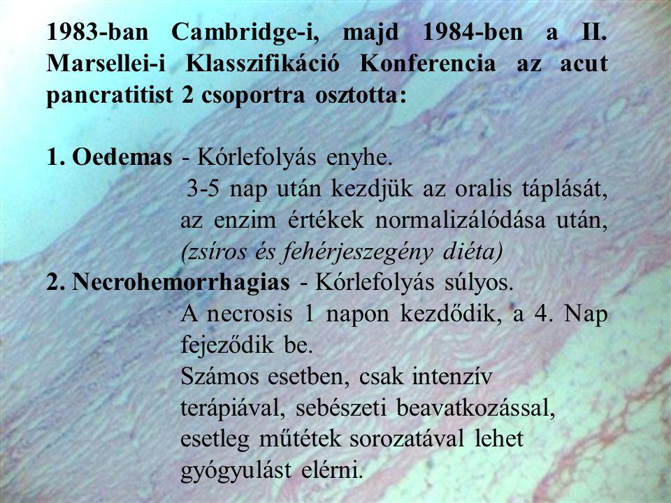 1983-ban Cambridge-i, majd 1984-ben a II. Marsellei-i Klasszifikáció Konferencia az acut pancratitist 2 csoportra osztotta: 1. Oedemas - Kórlefolyás e