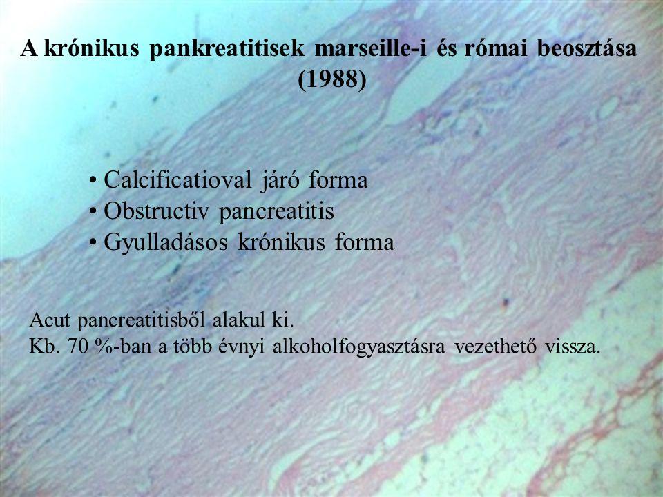 A krónikus pankreatitisek marseille-i és római beosztása (1988) • Calcificatioval járó forma • Obstructiv pancreatitis • Gyulladásos krónikus forma Ac