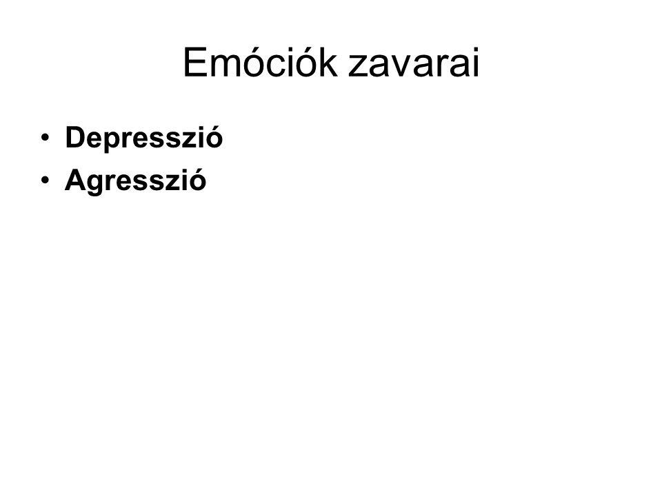 Emóciók zavarai •Depresszió •Agresszió