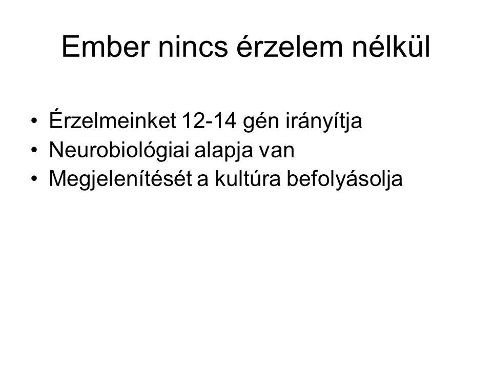 Ember nincs érzelem nélkül •Érzelmeinket 12-14 gén irányítja •Neurobiológiai alapja van •Megjelenítését a kultúra befolyásolja