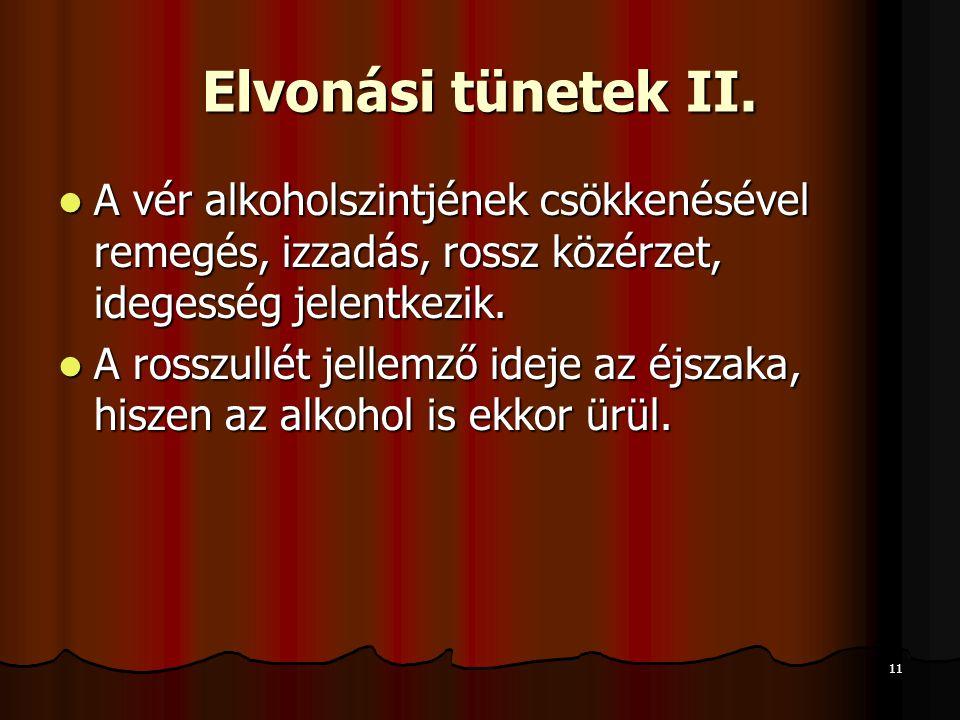 11 Elvonási tünetek II.