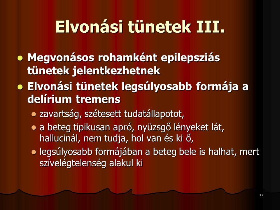 12 Elvonási tünetek III.