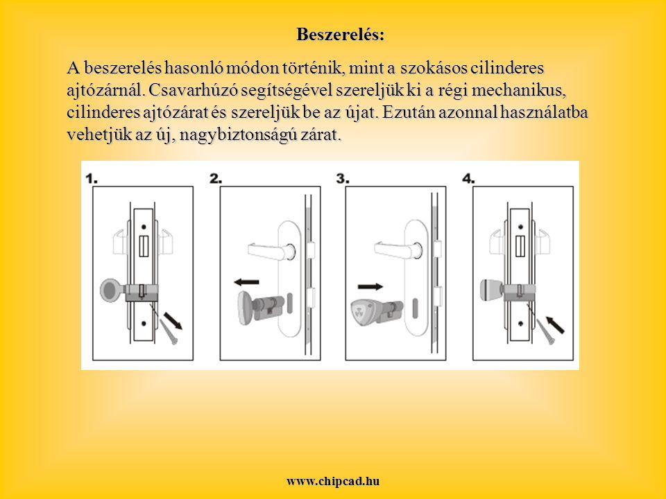 www.chipcad.hu Beszerelés: A beszerelés hasonló módon történik, mint a szokásos cilinderes ajtózárnál.