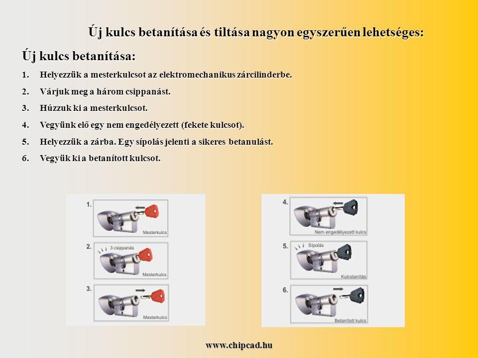 www.chipcad.hu Új kulcs betanítása és tiltása nagyon egyszerűen lehetséges: Új kulcs betanítása: 1.Helyezzük a mesterkulcsot az elektromechanikus zárcilinderbe.
