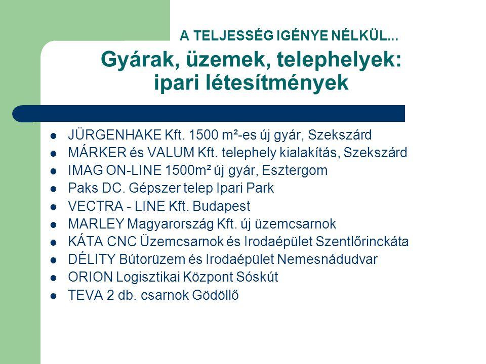 Gyárak, üzemek, telephelyek: ipari létesítmények  JÜRGENHAKE Kft.
