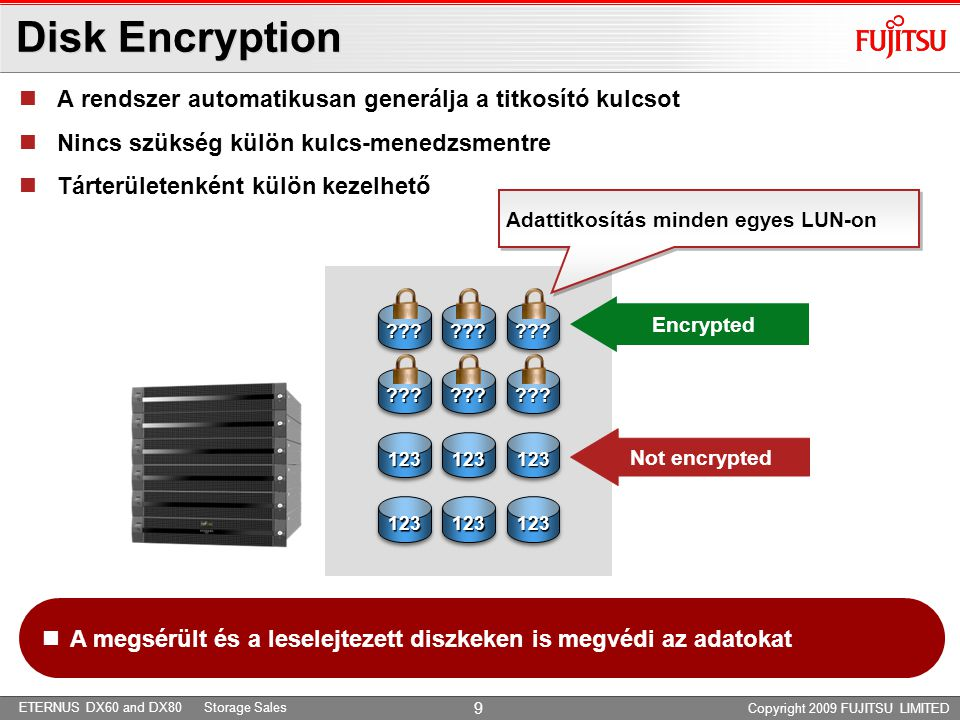 ETERNUS DX60 and DX80 Storage Sales Copyright 2009 FUJITSU LIMITED 9 ?????????????????? Disk Encryption Not encrypted Encrypted  A rendszer automatik