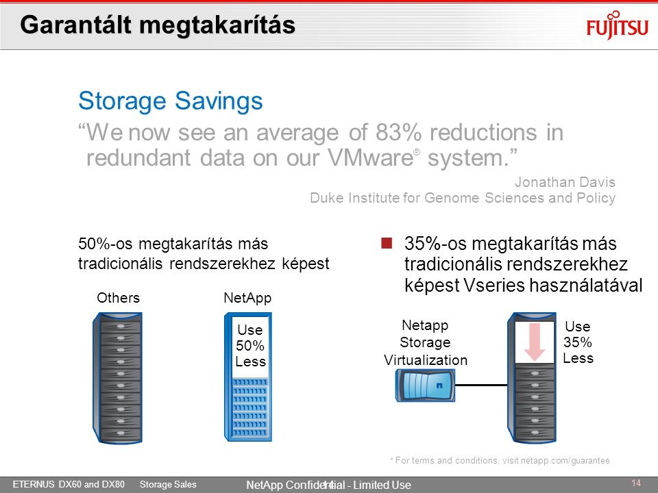 ETERNUS DX60 and DX80 Storage Sales NetApp Confidential - Limited Use Garantált megtakarítás  35%-os megtakarítás más tradicionális rendszerekhez kép