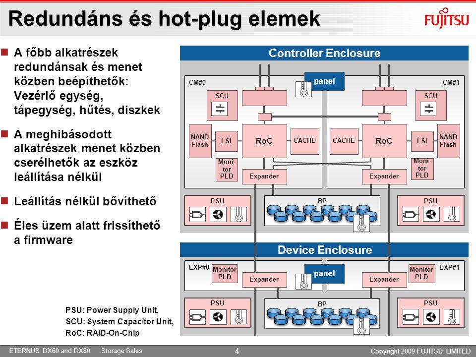 ETERNUS DX60 and DX80 Storage Sales Copyright 2009 FUJITSU LIMITED Redundáns és hot-plug elemek 4  A főbb alkatrészek redundánsak és menet közben beépíthetők: Vezérlő egység, tápegység, hűtés, diszkek  A meghibásodott alkatrészek menet közben cserélhetők az eszköz leállítása nélkül  Leállítás nélkül bővíthető  Éles üzem alatt frissíthető a firmware Device Enclosure Controller Enclosure PSU: Power Supply Unit, SCU: System Capacitor Unit, RoC: RAID-On-Chip SCU LSI CACHE CM#0 NAND Flash PSU panel Moni- tor PLD CM#1 CACHE LSI NAND Flash SCU PSU EXP#0 EXP#1 SCU panel Moni- tor PLD Monitor PLD Monitor PLD BP Expander RoC Expander RoC Expander