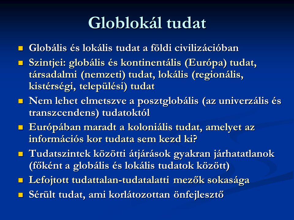 Globlokál tudat  Globális és lokális tudat a földi civilizációban  Szintjei: globális és kontinentális (Európa) tudat, társadalmi (nemzeti) tudat, lokális (regionális, kistérségi, települési) tudat  Nem lehet elmetszve a posztglobális (az univerzális és transzcendens) tudatoktól  Európában maradt a koloniális tudat, amelyet az információs kor tudata sem kezd ki.