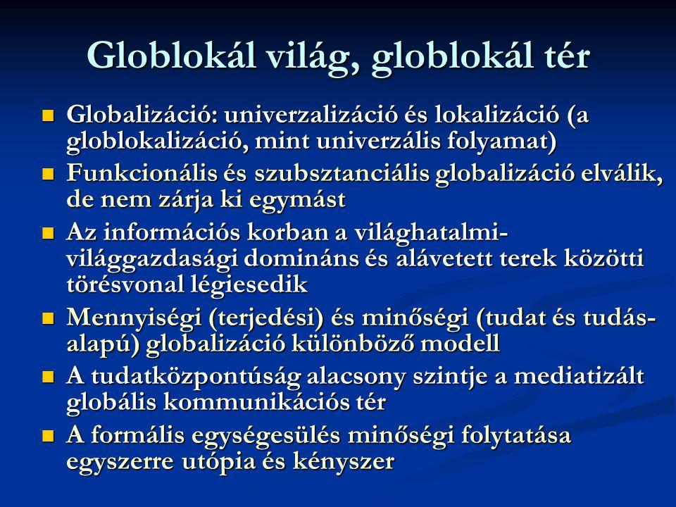 Globlokál világ, globlokál tér  Globalizáció: univerzalizáció és lokalizáció (a globlokalizáció, mint univerzális folyamat)  Funkcionális és szubsztanciális globalizáció elválik, de nem zárja ki egymást  Az információs korban a világhatalmi- világgazdasági domináns és alávetett terek közötti törésvonal légiesedik  Mennyiségi (terjedési) és minőségi (tudat és tudás- alapú) globalizáció különböző modell  A tudatközpontúság alacsony szintje a mediatizált globális kommunikációs tér  A formális egységesülés minőségi folytatása egyszerre utópia és kényszer