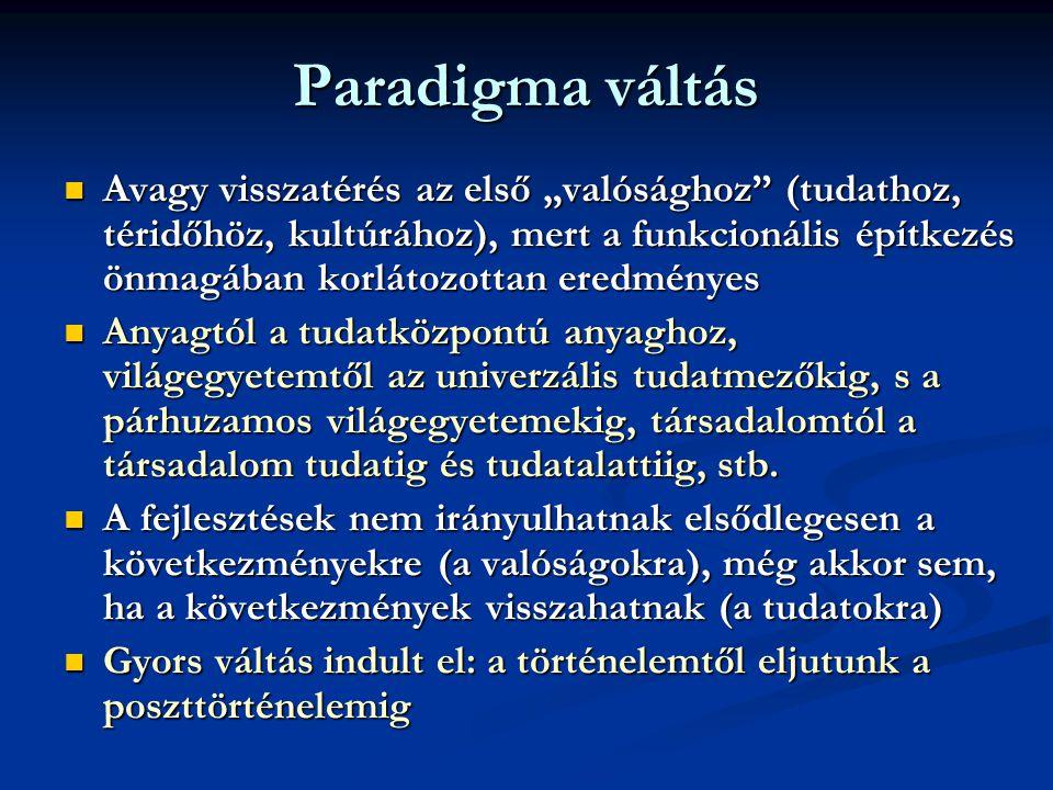 """Paradigma váltás  Avagy visszatérés az első """"valósághoz (tudathoz, téridőhöz, kultúrához), mert a funkcionális építkezés önmagában korlátozottan eredményes  Anyagtól a tudatközpontú anyaghoz, világegyetemtől az univerzális tudatmezőkig, s a párhuzamos világegyetemekig, társadalomtól a társadalom tudatig és tudatalattiig, stb."""