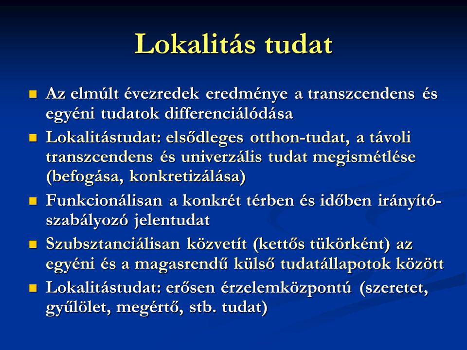 Lokalitás tudat  Az elmúlt évezredek eredménye a transzcendens és egyéni tudatok differenciálódása  Lokalitástudat: elsődleges otthon-tudat, a távoli transzcendens és univerzális tudat megismétlése (befogása, konkretizálása)  Funkcionálisan a konkrét térben és időben irányító- szabályozó jelentudat  Szubsztanciálisan közvetít (kettős tükörként) az egyéni és a magasrendű külső tudatállapotok között  Lokalitástudat: erősen érzelemközpontú (szeretet, gyűlölet, megértő, stb.