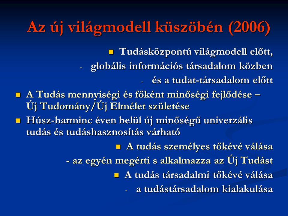 Az új világmodell küszöbén (2006)  Tudásközpontú világmodell előtt, - globális információs társadalom közben - és a tudat-társadalom előtt  A Tudás mennyiségi és főként minőségi fejlődése – Új Tudomány/Új Elmélet születése  Húsz-harminc éven belül új minőségű univerzális tudás és tudáshasznosítás várható  A tudás személyes tőkévé válása - az egyén megérti s alkalmazza az Új Tudást  A tudás társadalmi tőkévé válása - a tudástársadalom kialakulása