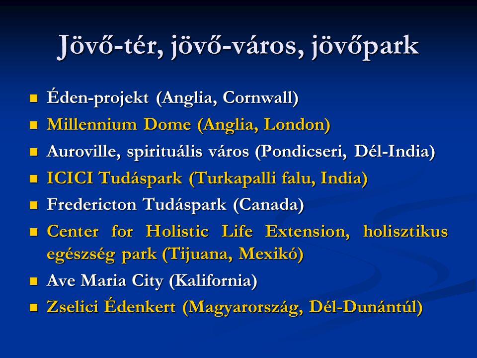 Jövő-tér, jövő-város, jövőpark  Éden-projekt (Anglia, Cornwall)  Millennium Dome (Anglia, London)  Auroville, spirituális város (Pondicseri, Dél-India)  ICICI Tudáspark (Turkapalli falu, India)  Fredericton Tudáspark (Canada)  Center for Holistic Life Extension, holisztikus egészség park (Tijuana, Mexikó)  Ave Maria City (Kalifornia)  Zselici Édenkert (Magyarország, Dél-Dunántúl)