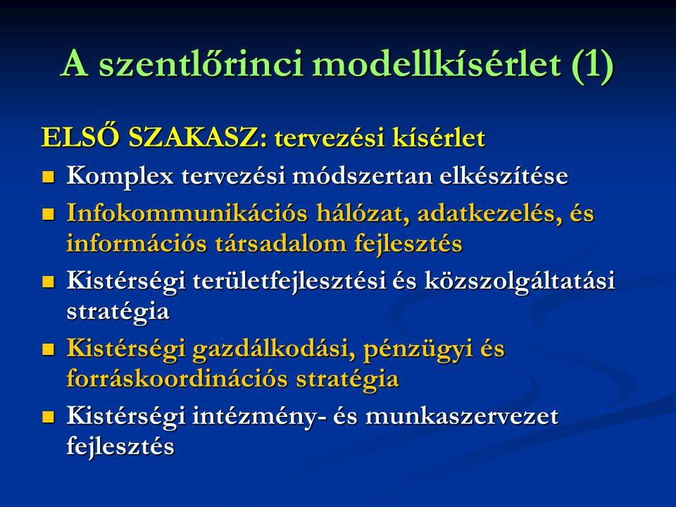 A szentlőrinci modellkísérlet (1) ELSŐ SZAKASZ: tervezési kísérlet  Komplex tervezési módszertan elkészítése  Infokommunikációs hálózat, adatkezelés, és információs társadalom fejlesztés  Kistérségi területfejlesztési és közszolgáltatási stratégia  Kistérségi gazdálkodási, pénzügyi és forráskoordinációs stratégia  Kistérségi intézmény- és munkaszervezet fejlesztés