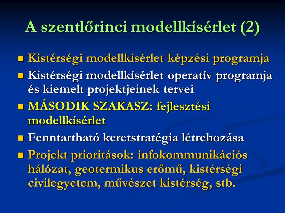 A szentlőrinci modellkísérlet (2)  Kistérségi modellkísérlet képzési programja  Kistérségi modellkísérlet operatív programja és kiemelt projektjeinek tervei  MÁSODIK SZAKASZ: fejlesztési modellkísérlet  Fenntartható keretstratégia létrehozása  Projekt prioritások: infokommunikációs hálózat, geotermikus erőmű, kistérségi civilegyetem, művészet kistérség, stb.
