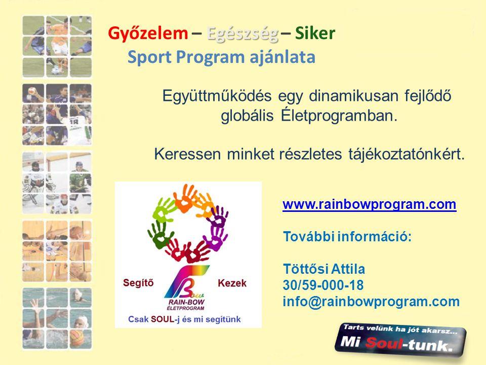Egészség Győzelem – Egészség – Siker Sport Program ajánlata Együttműködés egy dinamikusan fejlődő globális Életprogramban. Keressen minket részletes t