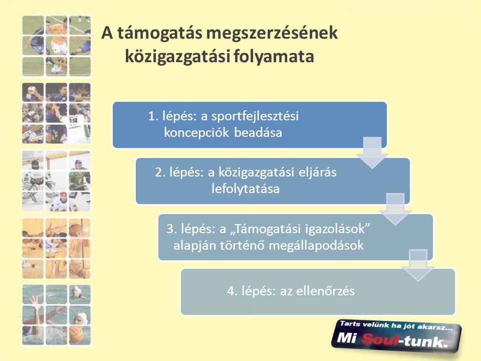 A támogatás megszerzésének közigazgatási folyamata 1. lépés: a sportfejlesztési koncepciók beadása 2. lépés: a közigazgatási eljárás lefolytatása 3. l