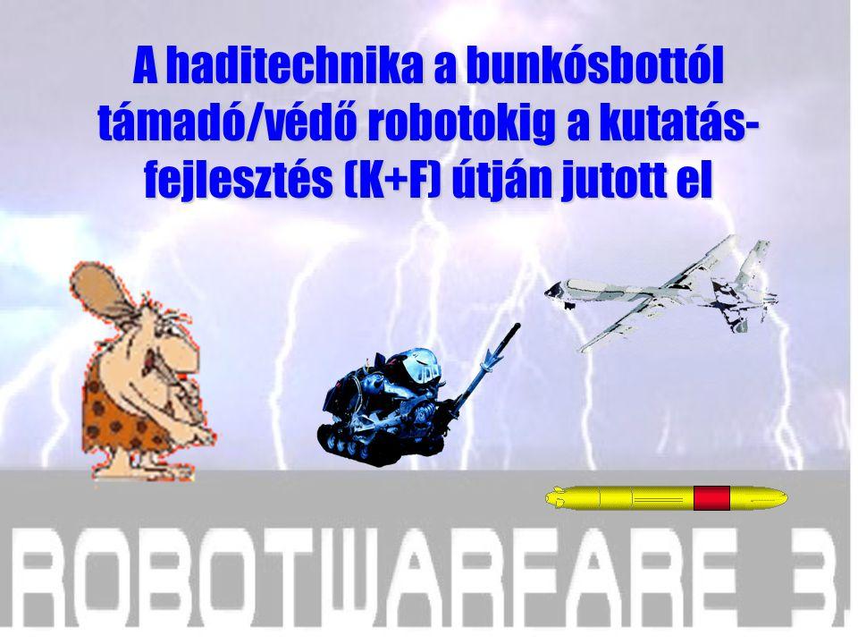 A haditechnika a bunkósbottól támadó/védő robotokig a kutatás- fejlesztés (K+F) útján jutott el