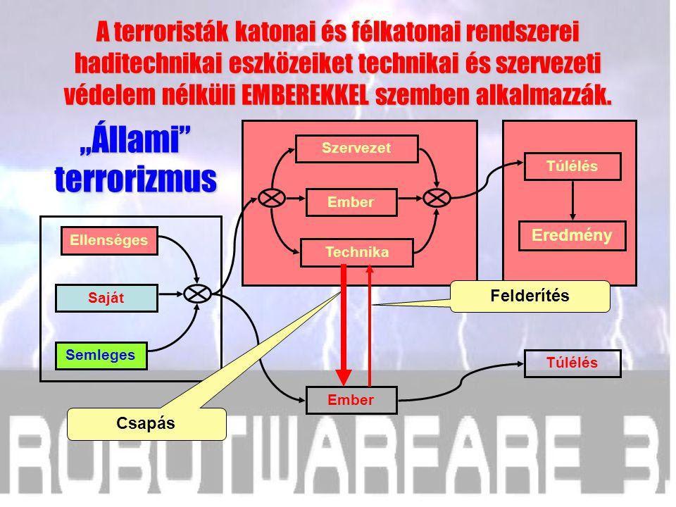 Hatodik következtetés A terroristák katonai és félkatonai rendszerei haditechnikai eszközeiket technikai és szervezeti védelem nélküli EMBEREKKEL szem