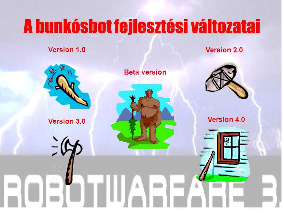 Version 1.0 Version 3.0 Version 4.0 Version 2.0 Beta version A bunkósbot fejlesztési változatai