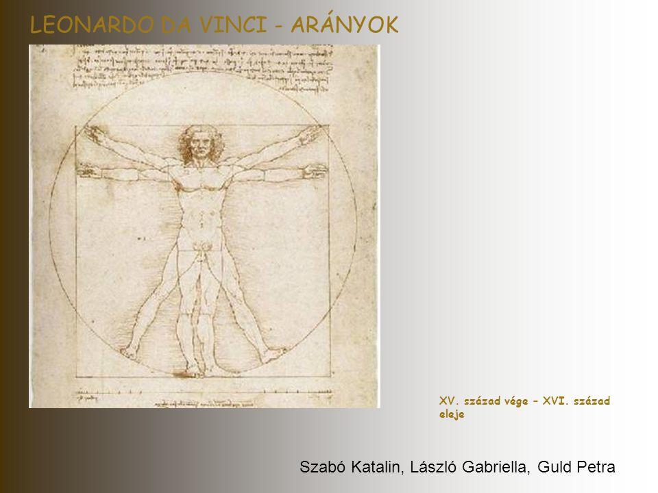 LEONARDO DA VINCI - ARÁNYOK XV. század vége – XVI. század eleje Szabó Katalin, László Gabriella, Guld Petra