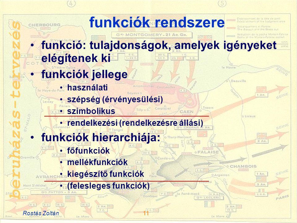beruházás-tervezés funkciók rendszere •funkció: tulajdonságok, amelyek igényeket elégítenek ki •funkciók jellege •használati •szépség (érvényesülési) •szimbolikus •rendelkezési (rendelkezésre állási) •funkciók hierarchiája: •főfunkciók •mellékfunkciók •kiegészítő funkciók •(felesleges funkciók) Rostás Zoltán11