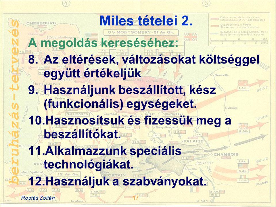 beruházás-tervezés Miles tételei 2.