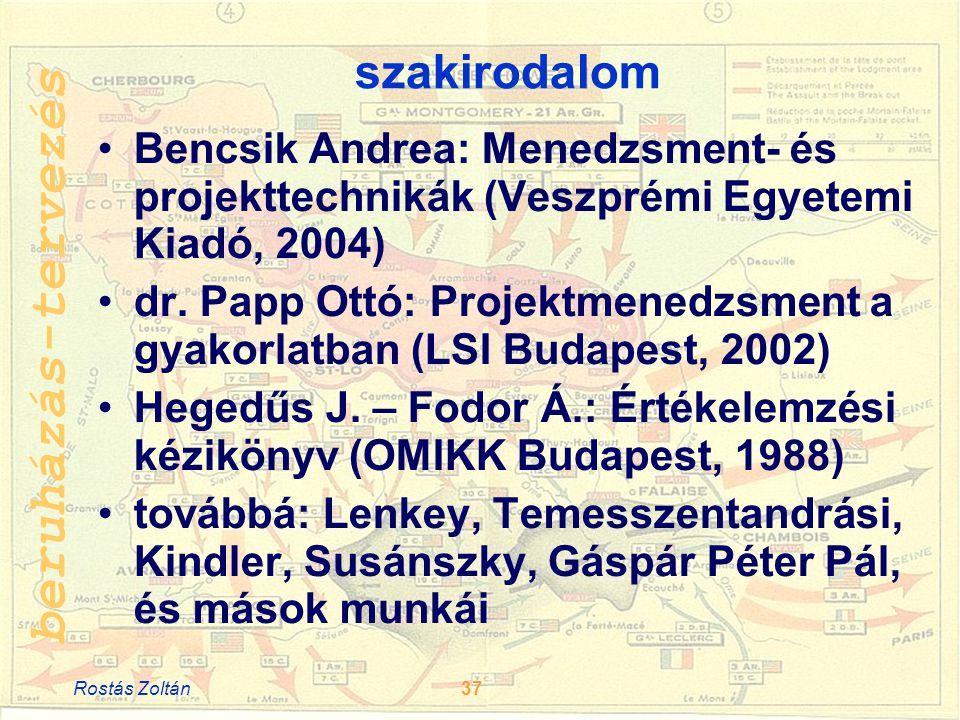 beruházás-tervezés szakirodalom •Bencsik Andrea: Menedzsment- és projekttechnikák (Veszprémi Egyetemi Kiadó, 2004) •dr.