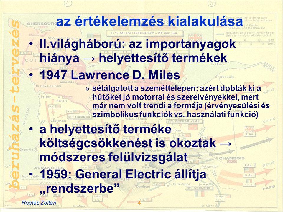 beruházás-tervezés az értékelemzés kialakulása •II.világháború: az importanyagok hiánya → helyettesítő termékek •1947 Lawrence D.