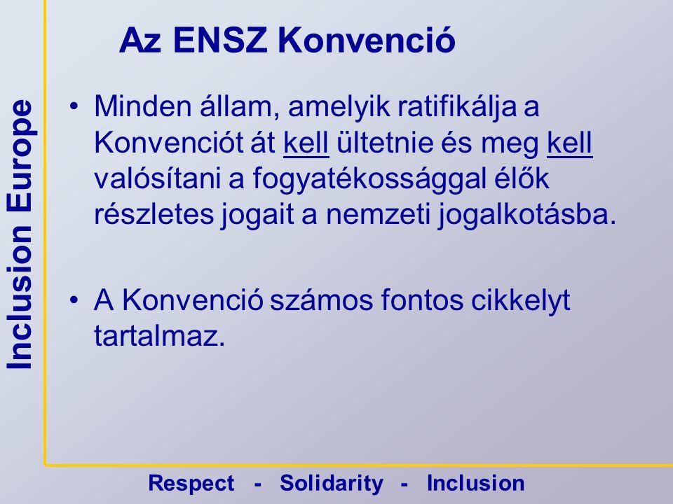 Inclusion Europe Respect - Solidarity - Inclusion Az ENSZ Konvenció •Minden állam, amelyik ratifikálja a Konvenciót át kell ültetnie és meg kell valósítani a fogyatékossággal élők részletes jogait a nemzeti jogalkotásba.