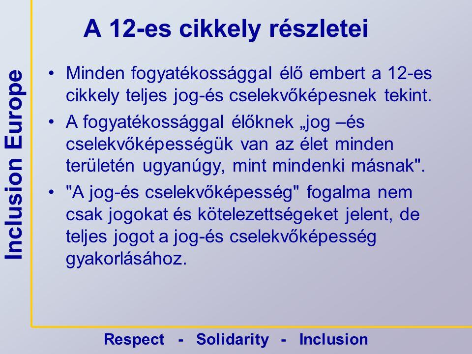 Inclusion Europe Respect - Solidarity - Inclusion A következtetések •A 12-es cikkely tilt minden olyan nemzeti gondnoksági jogszabályát, amelyik megtagadja az emberektől a teljes jog-és cselekvőképességüket és meghatározza egy harmadik személy jogi jelenlétének bármilyen formáját.