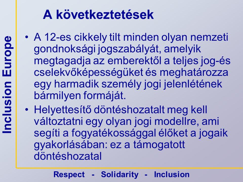 Inclusion Europe Respect - Solidarity - Inclusion Kihívás •Az Európai Uniónak nincs olyan tagállama, ahol a polgári jog magába foglalná a támogatott döntéshozatal modelljét.