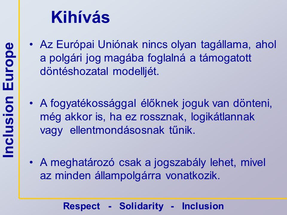 Inclusion Europe Respect - Solidarity - Inclusion Más következtetések Art.